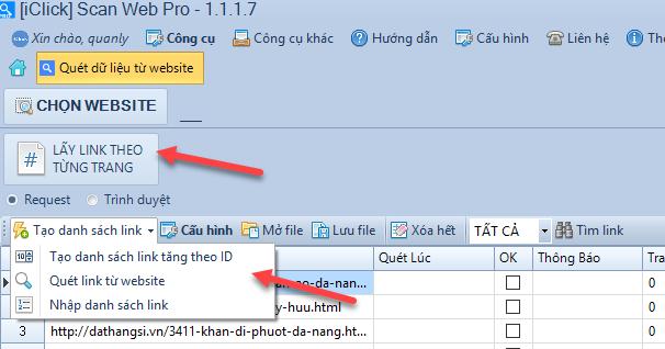 Các cách lấy link để quét dữ liệu