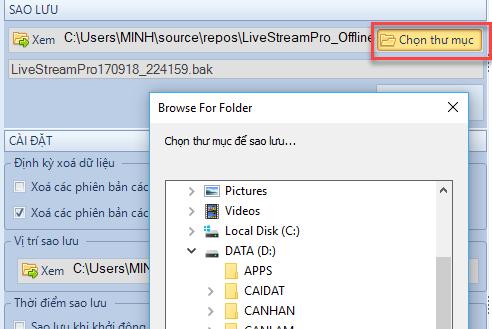 sao lưu phục hồi dữ liệu phần mềm Livestream Pro