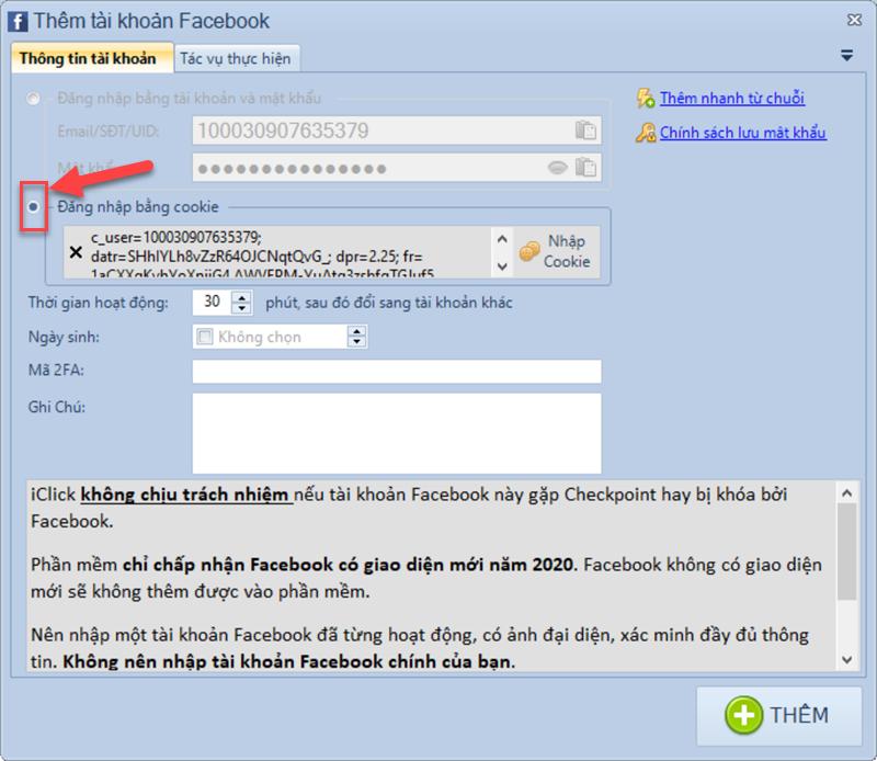Sử dụng cookie để đăng nhập Facebook trong phần mềm Facebook Marketing