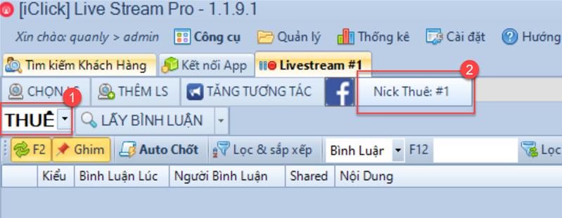 Thuê nick phần mềm Livestream Pro
